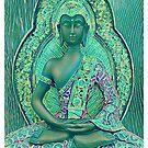 Sitting Peacefully - Green Buddha by DesJardins