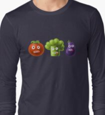 Tomato Broccoli and Eggplant Funny Cartoon Vegetables Long Sleeve T-Shirt