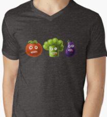 Tomato Broccoli and Eggplant Funny Cartoon Vegetables Men's V-Neck T-Shirt