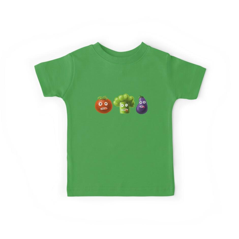 Tomato Broccoli and Eggplant Funny Cartoon Vegetables by Boriana Giormova