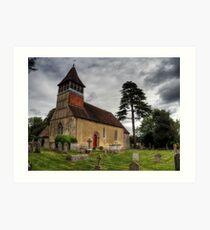 the Church at Martyr Worthy, Hampshire Art Print