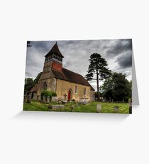 the Church at Martyr Worthy, Hampshire Greeting Card