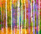 Colorful Forest Abstract   Triptych Part 3 by Menega  Sabidussi