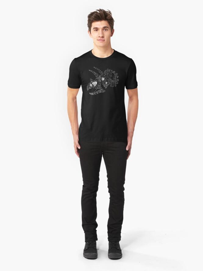 Alternate view of Monocolor Calligram Triceratops Skull Slim Fit T-Shirt