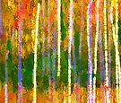 Colorful Forest Abstract   Triptych Part 2 by Menega  Sabidussi