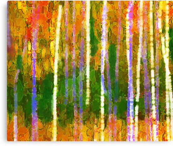 Colorful Forest Abstract | Triptych Part 2 by Menega  Sabidussi