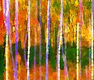 Colorful Forest Abstract   Triptych Part 1 by Menega  Sabidussi