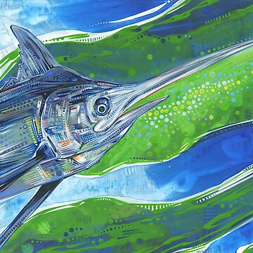 Blue marlin fish painting - 2012 by gwennpaints