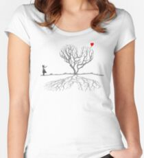 Banksy Heart Tree Women's Fitted Scoop T-Shirt