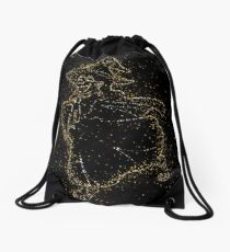 Animal cartoon cat golden ornament Gold Drawstring Bag