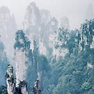 Beautiful landscape of Zhangjiajie Floating mountain peaks disappearing in white fog abstract nature scenery art photo print by AwenArtPrints