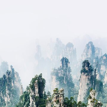Mountain spires rising from thick milky fog at Zhangjiajie National Park nature landscape art photo print by AwenArtPrints