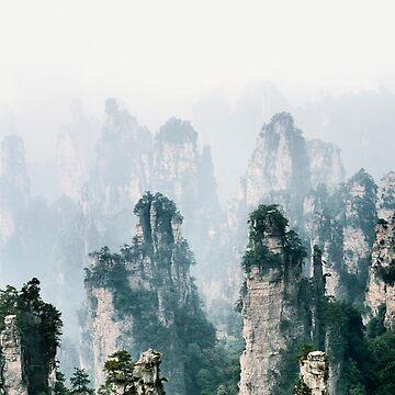 Beautiful peaks of floating mountains Zhangjiajie disappearing in milky fog art photo print by AwenArtPrints