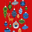Holiday Ornaments in Red + Blue + Green by latheandquill