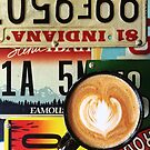 Latte Art with License Plate background by carlacardello