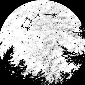 Little Dipper Zodiac Sign Graphic Moon and Trees by xsylx