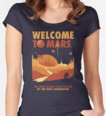 Camiseta entallada de cuello redondo Bienvenido a marte