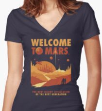Welcome to Mars Women's Fitted V-Neck T-Shirt