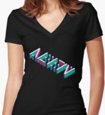 Alien Ambigram UFO Optical Illusion Decoded  Women's Fitted V-Neck T-Shirt