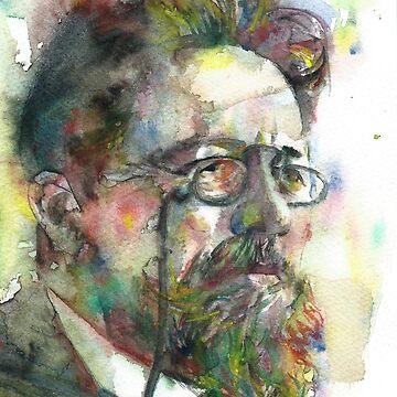 ANTON CHEKHOV - watercolor portrait.7 by lautir
