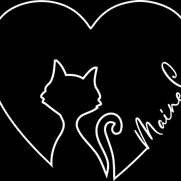 Maine Coon Love Heart Cat Strich Graphic Design by xsylx