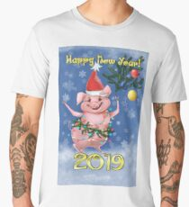 Postcard 2019 The New Year Of The Pig Men's Premium T-Shirt