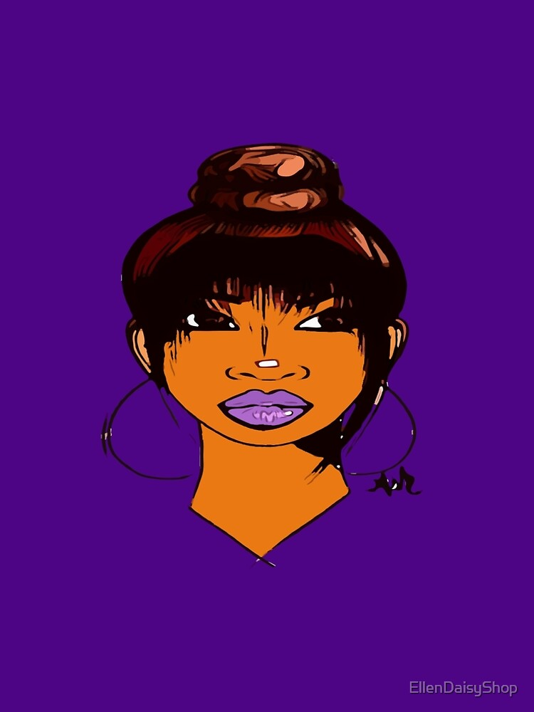 Pretty Girl Cute HairStyle Earrings With Purple Lipstick by EllenDaisyShop