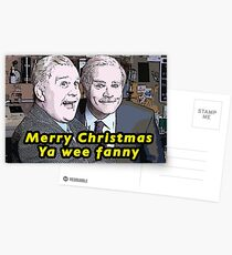 "Still Game Inspired Jack and Victor ""Merry Christmas ya wee fanny"" Funny Xmas Card, Scottish Postcards"