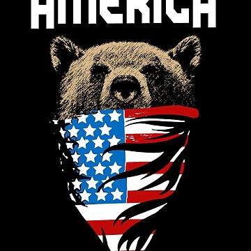 America USA Bear Wearing Flag by ThatMerchStore