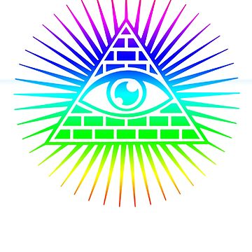 The All Seeing Eye Pyramid Rainbow Multi Colored  by ThatMerchStore