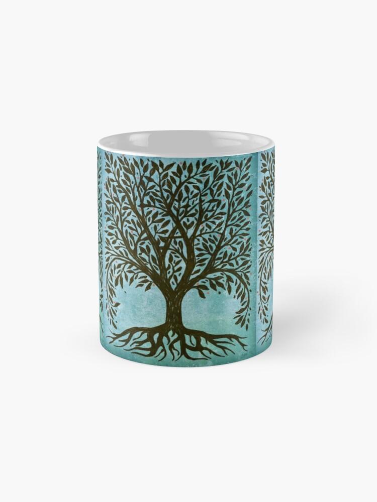 Alternative Ansicht von Baum des Lebens Holzschnitt im Blau Tassen