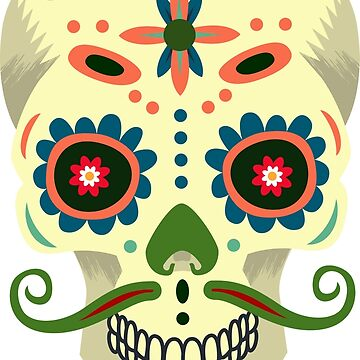 Sugar skull Hipster with mustache by ViVedX