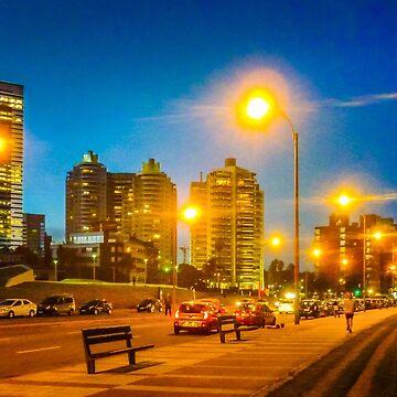 Night Scene Montevideo Cityscape by DFLCreative