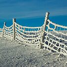 Snowy fence against cold blue sky by retouch