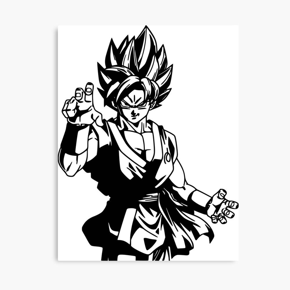 Goku black and white fan art more than 50 products for sale canvas print