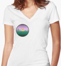 Sunset/rise-Digital art Women's Fitted V-Neck T-Shirt