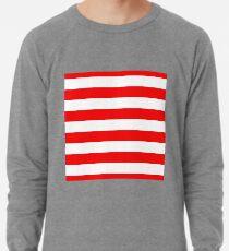 Jumbo Berry Red and White Rustic Horizontal Cabana Stripes Lightweight Sweatshirt