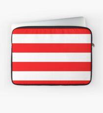 Jumbo Berry Red and White Rustic Horizontal Cabana Stripes Laptop Sleeve