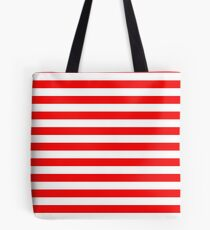 Large Berry Red and White Rustic Horizontal Beach Stripes Tote Bag