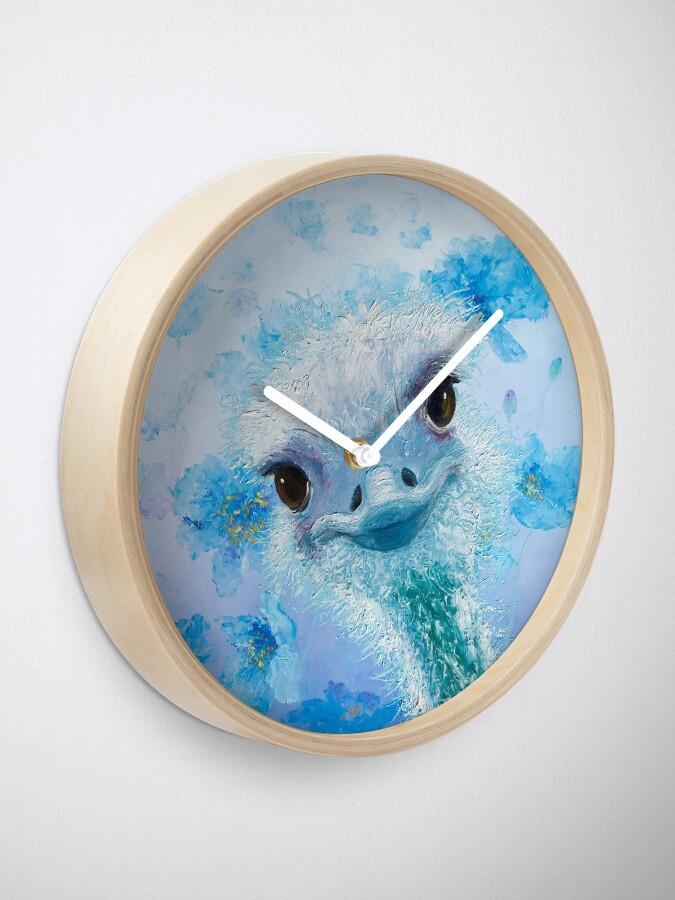 Vista alternativa de Reloj Avestruz con amapolas azules