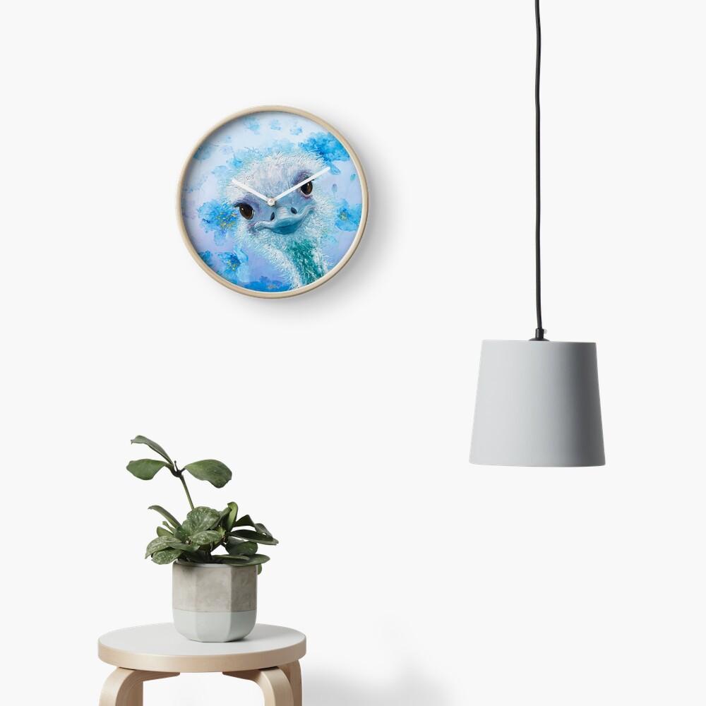 Avestruz con amapolas azules Reloj