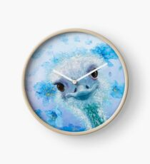 Ostrich with blue poppies Clock