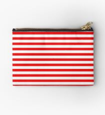 Original Berry Red and White Rustic Horizontal Tent Stripes Studio Pouch