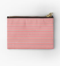 Thin Berry Red and White Rustic Horizontal Sailor Stripes Studio Pouch