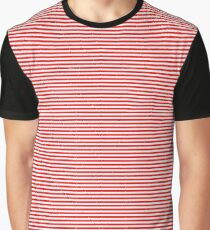 Mini Berry Red and White Rustic Horizontal Pin Stripes Graphic T-Shirt