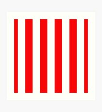 Jumbo Berry Red and White Rustic Vertical Cabana Stripes Art Print