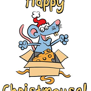 Happy Christmouse! - Cute Cartoon Christmas Mouse by madra