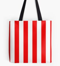 Jumbo Berry Red and White Rustic Vertical Cabana Stripes Tote Bag
