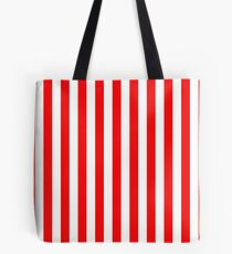 Large Berry Red and White Rustic Vertical Beach Stripes Tote Bag