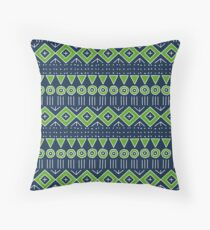 Mudcloth Style 2 in Navy Blue and Lime Green Throw Pillow